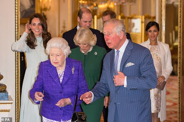 Camilla joins the most senior members of the royal family at yesterdays event hosted by the Queen