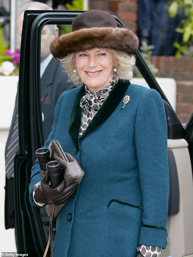 Camilla wore the brooch once again for Ladies Day at Cheltenham racing festival in March teamed with a teal dress and brown suede boots