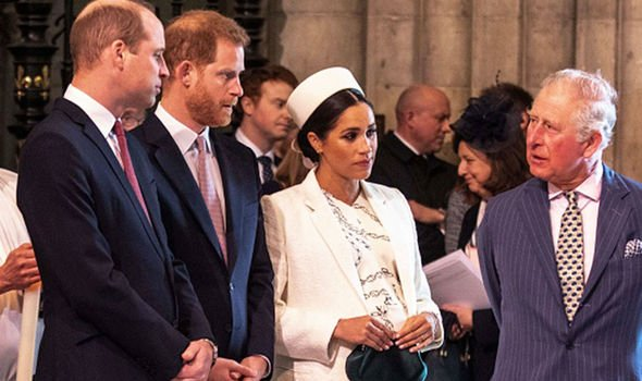 From left to right Prince William Prince Harry Meghan Markle and Prince Charles Image GETTY