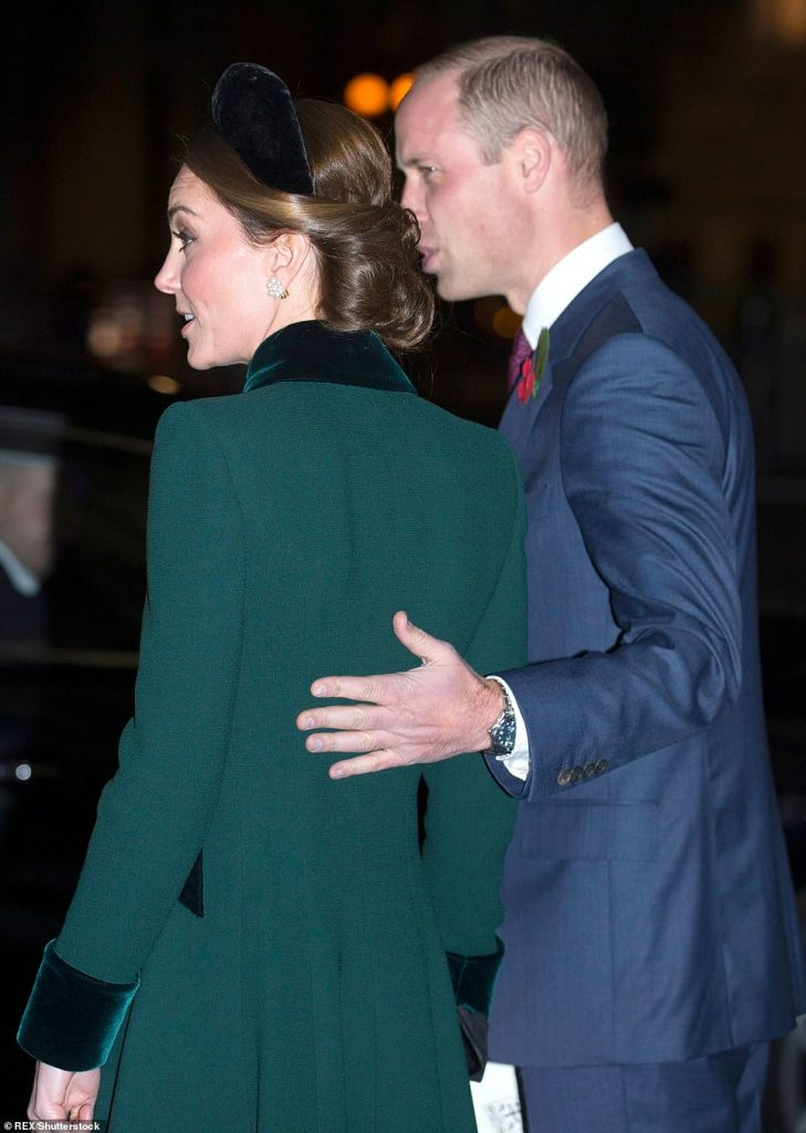 In November William was pictured as he wrapped a protective arm around his wife during the Armistice commemorations a dramatic departure