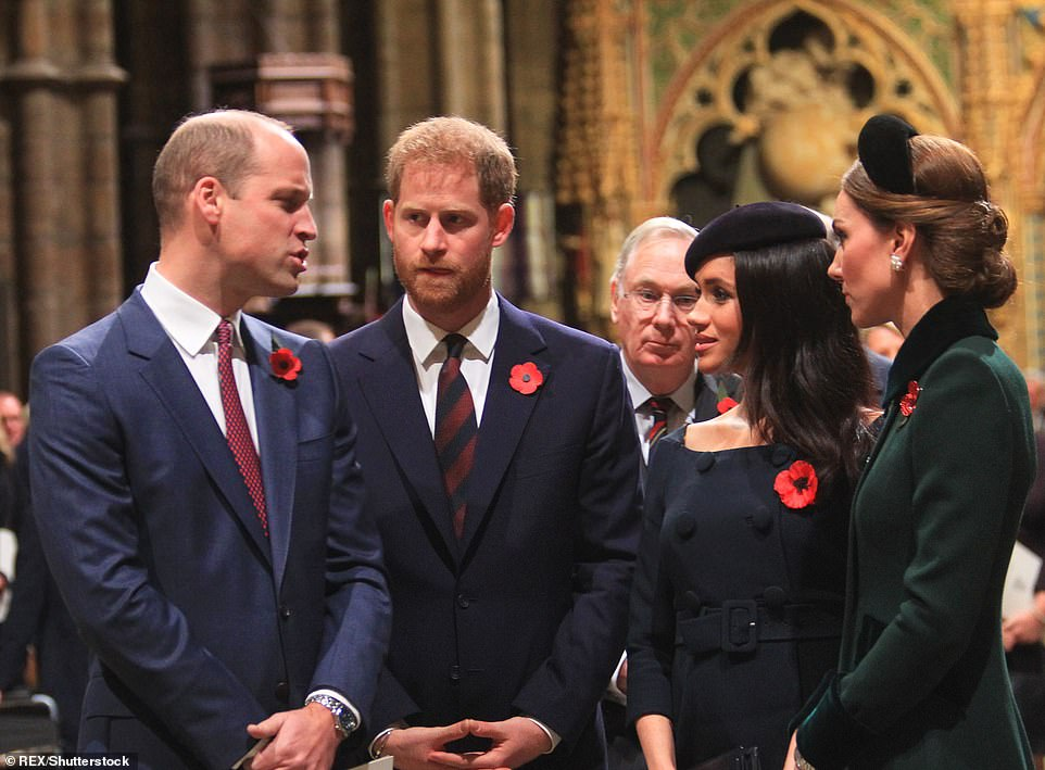 In a rare joint appearance Prince Harry and Meghan were seen alongside Prince William and Kate in November during the National Service