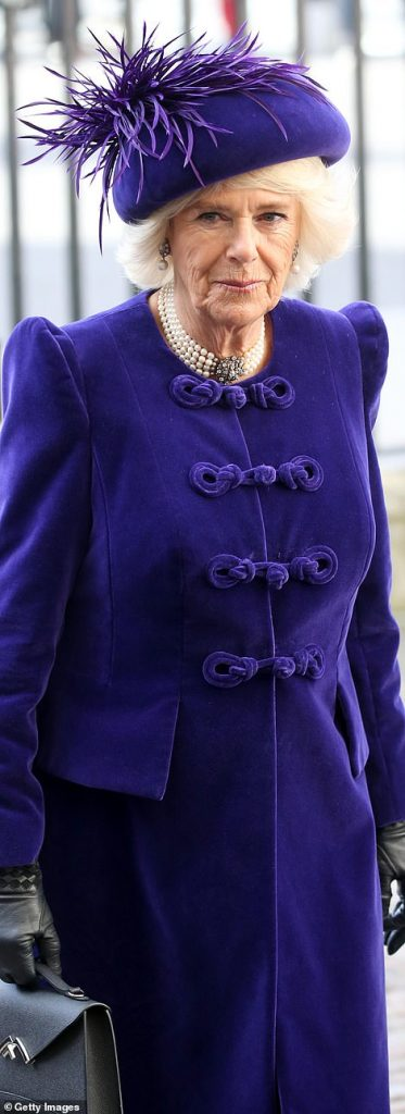 It was like a mirror image when it came to the outfit choices of the Queen and Camilla earlier today Both donned a deep purple jacket which finished below the knee
