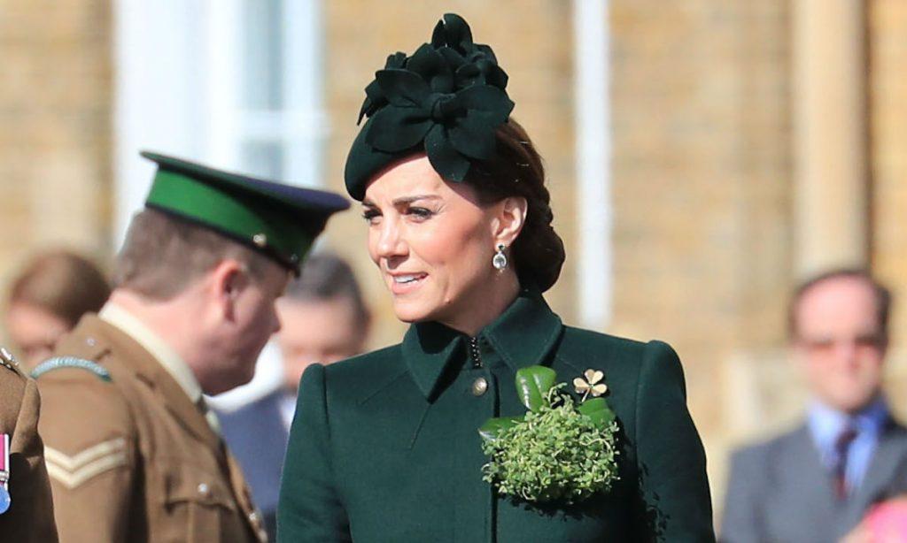Kate Middleton is gorgeous in custom made Alexander McQueen for St Patrick's Day Photo C GETTY IMAGES