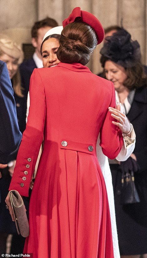 Kate and Meghan attended the Commonwealth Day service at Westminster Abbey and were seen greeting each other with a friendly kiss on both cheeks