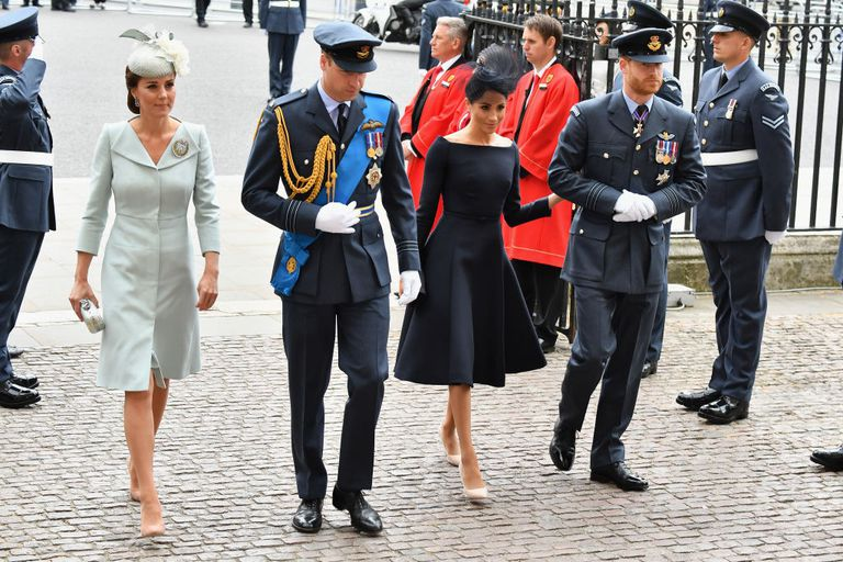 Kate and Meghan with their husbands at the RAF Centenary in July Photo C GETTY IMAGES