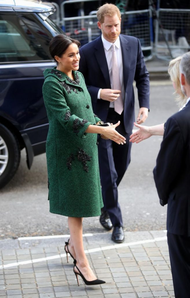 Meghan Markle Stepped Out in a Glitzy Erdem Green Coat and Dress for Commonwealth Day Photo C GETTY IMAGES