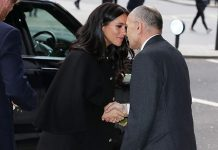Meghan and Harry shared a Hongi with Sir Jerry Mateparae as they arrived Image Getty