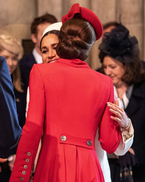 Meghan and Kate greeted each other with a kiss at the Commonwealth Day Service Image GETTY