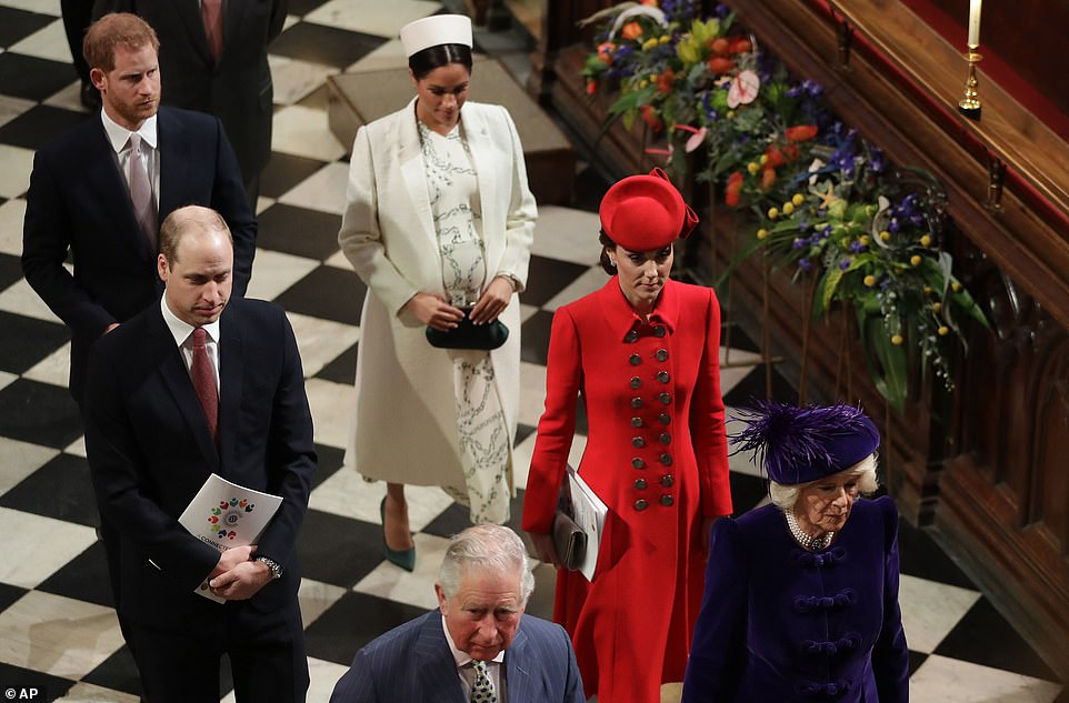 Members of Britains Royal family left after attending the Commonwealth Service at Westminster Abbey in London earlier today