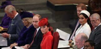 Members of the royal family held the order of service book on their laps as they watched on during the service