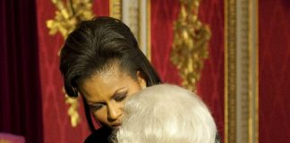 Michelle Obama broke protocol by placing her hand on the Queens back Daniel Hambury Pool AP