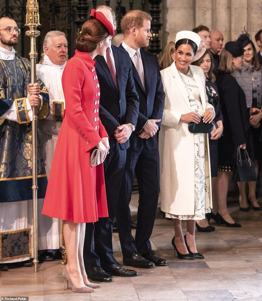 No bad blood here Kate and Meghan exchanged smiles as they chatted ahead of the Commonwealth Day service which they attended with their husbands Prince William and Prince Harry