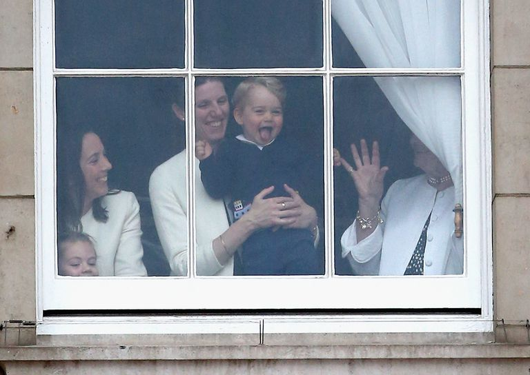 PRINCE GEORGE AND NANNY MARIA ARE SPOTTED THROUGH A WINDOW THE TROOPING THE COLOUR PARADE photo C getty images