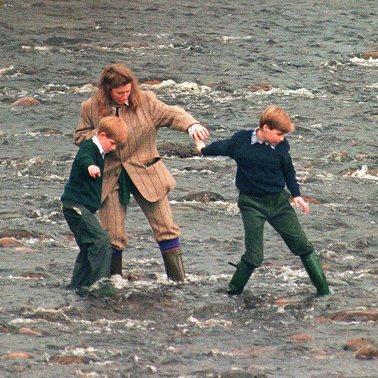 PRINCE WILLIAM AND PRINCE HARRY WITH THEIR NANNY TIGGY LEGGE BOURKE TAKING A WALK IN THE RIVER GAIRN NEAR THE QUEENS SCOTTISH ESTATE BALMORAL IN photo C getty images
