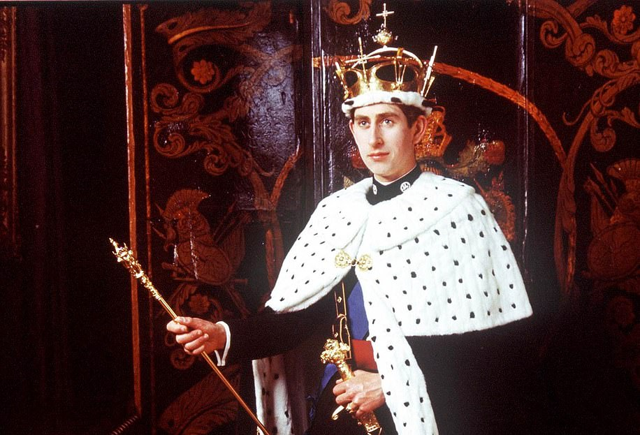 Pin pong prince Charles pictured after the ceremony wearing the coronet specially made for the investiture
