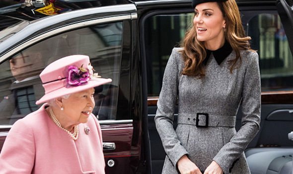Queen Elizabeth II and the Duchess of Cambridge arriving at Kings College Image GETTY