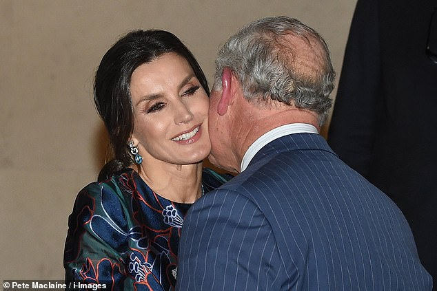 Queen Letizia of Spain joined Prince Charles tonight at at the opening of Sorolla Spanish Master of Light at the National Gallery