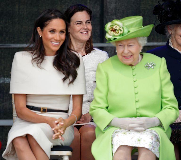 Samantha Cohen travelled to Chester with Meghan Markle and the Queen on their first public engagement together Photo C GETTY IMAGES