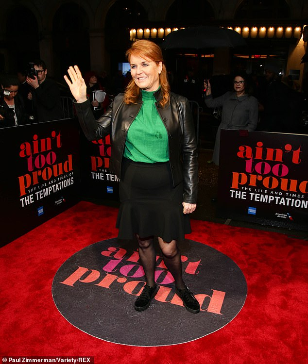 Sarah Ferguson attended the opening night of Aint Too Proud The Life and Times of The Temptations Broadway Play in New York on Thursday