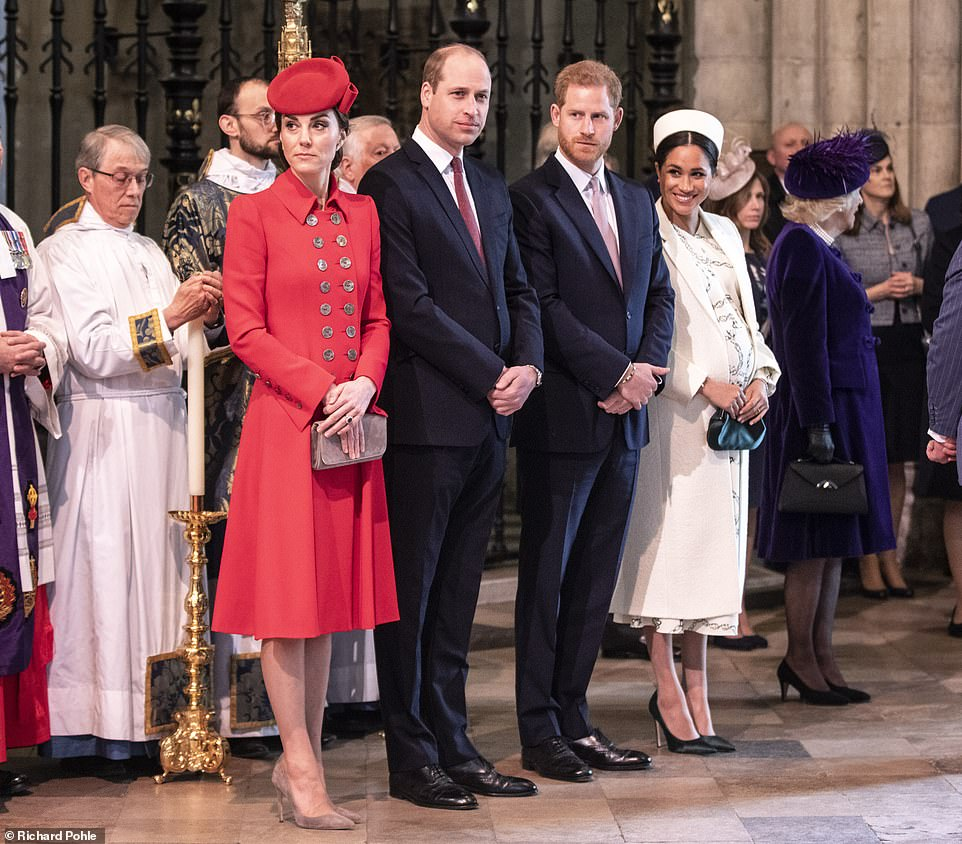 Solemnity and smiles The Duchess of Cambridge looked reflective while pregnant Meghan was cheerful as the group awaited the arrival of the Queen at Westminster Abbey