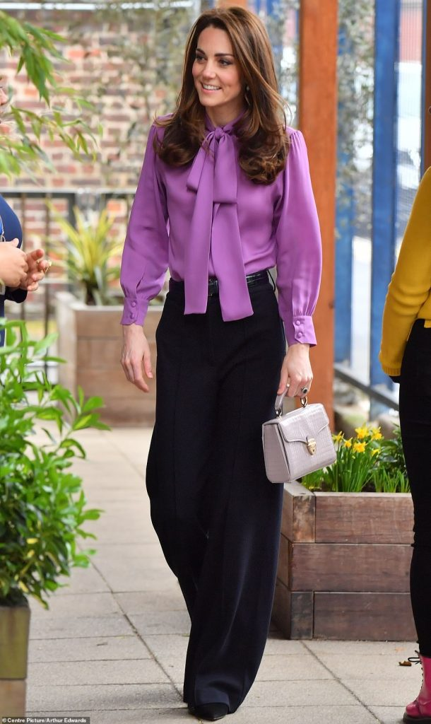 The Duchess of Cambridge appeared in excellent spirits as she arrived for the engagement this morning pictured