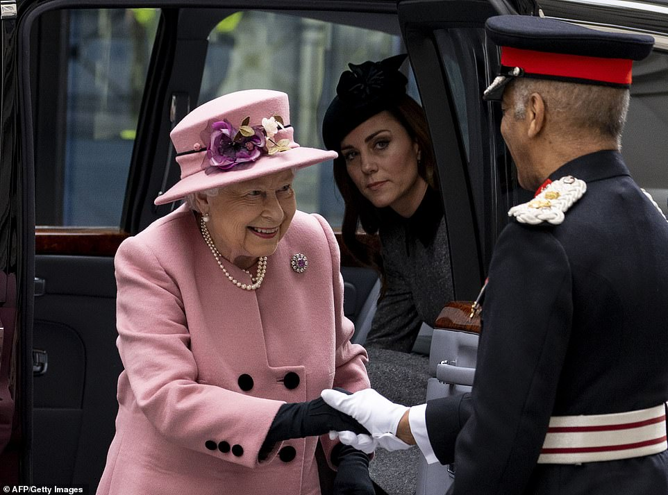 The Duchess of Cambridge followed royal protocol by waiting for the Queen to leave the car before exiting herself