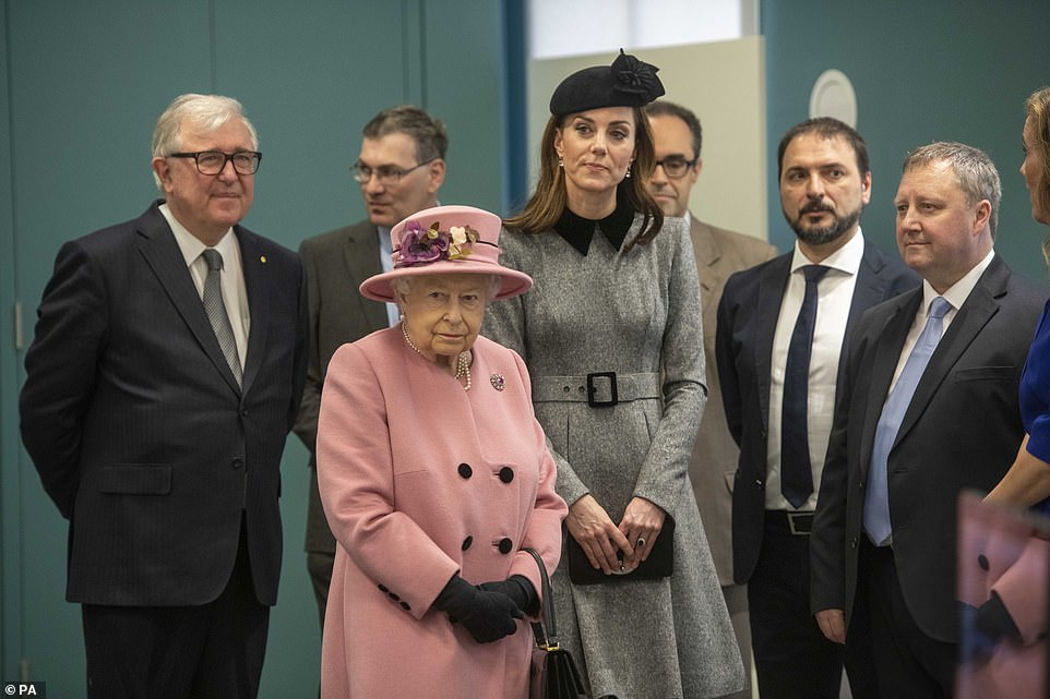 The Duchess of Cambridge remained by the Queens side as she officially opened Bush House on Tuesday