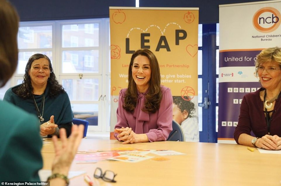 The Duchess of Cambridge shared a light hearted moment with centre staff as she learned more about their services
