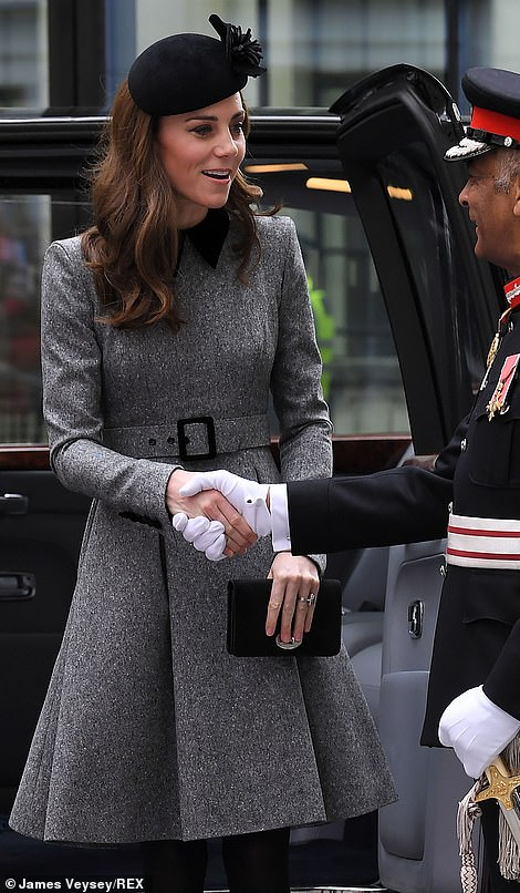 The Duchess of Cambridge stepped out in one of her favourite shapes of coat as she joined the Queen in London today