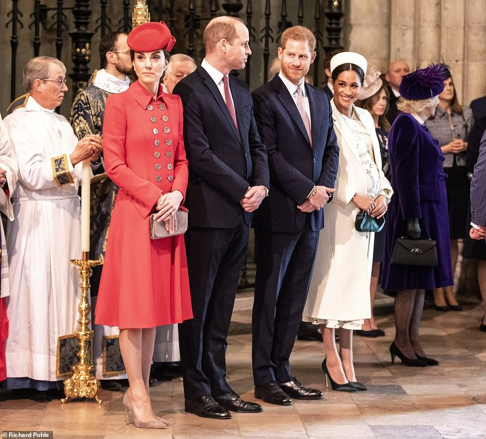 The Duke and duchess of Cambridge stood with the duke and Duchess of Sussex during the service today This years theme A Connected Commonwealth