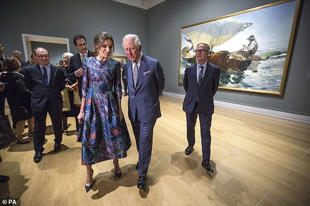 The Prince of Wales and Queen Letizia of Spain make their way around the opening of Sorolla Spanish Master of Light at the National Gallery in London