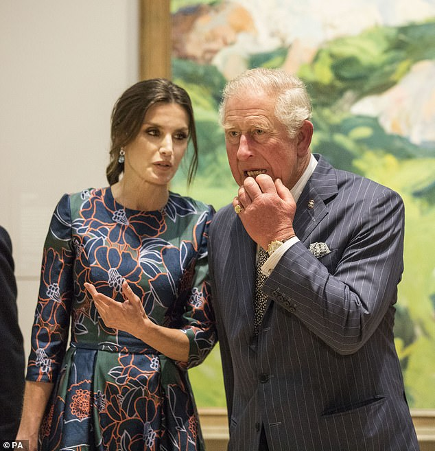 The Prince of Wales listens to Queen Letizia of Spain attend the opening of Sorolla Spanish Master of Light at the National Gallery