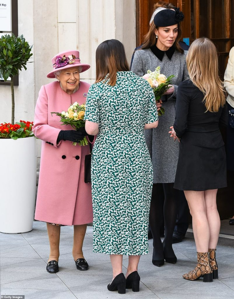 The Queen and the Duchess of Cambridge spent roughly an hour at Bush House before leaving pictured