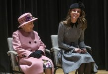 The Queen smiled warmly at the Duchess of Cambridge following a brief ceremony to officially open Bush House on Tuesday