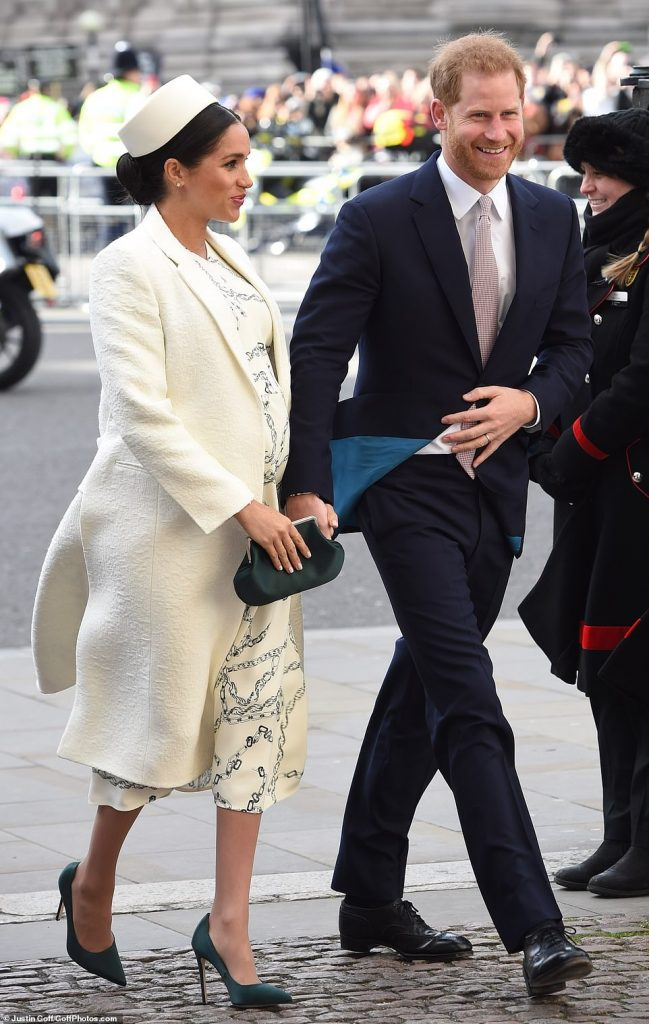 The pair couldnt keep the grins off their faces as they joined senior members of the royal family and leading figures from national life at the Commonwealth Day service today