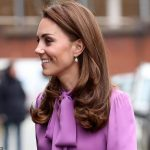 The royal mother of three wore her long brunette locks blown out and accessorised with a simple pair of drop earrings