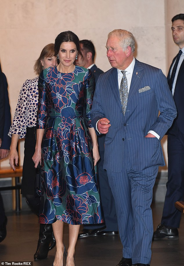 The royal pair appeared to get on famously with the Queen regularly touching the Princes arm to guide him towards a favourite painting or to navigate through the gallery