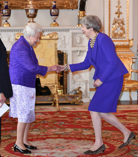Theresa May greets the Queen Pic Getty