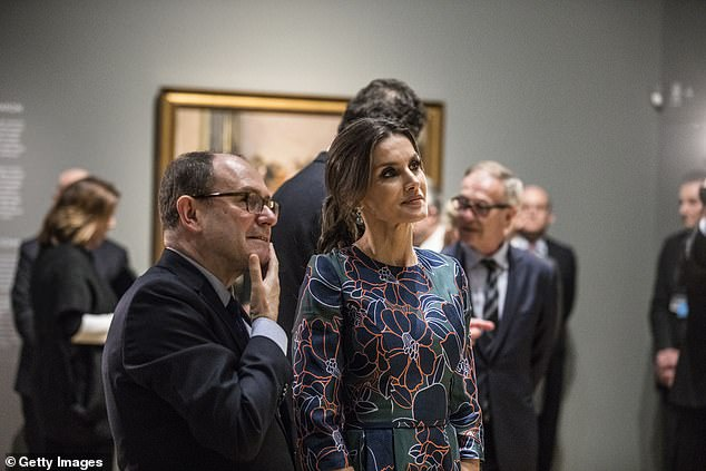 They were shown around by Dr Gabriele Finaldi director of the gallery and curator Christopher Riopelle and accompanied by a large entourage including Sarah Chatto