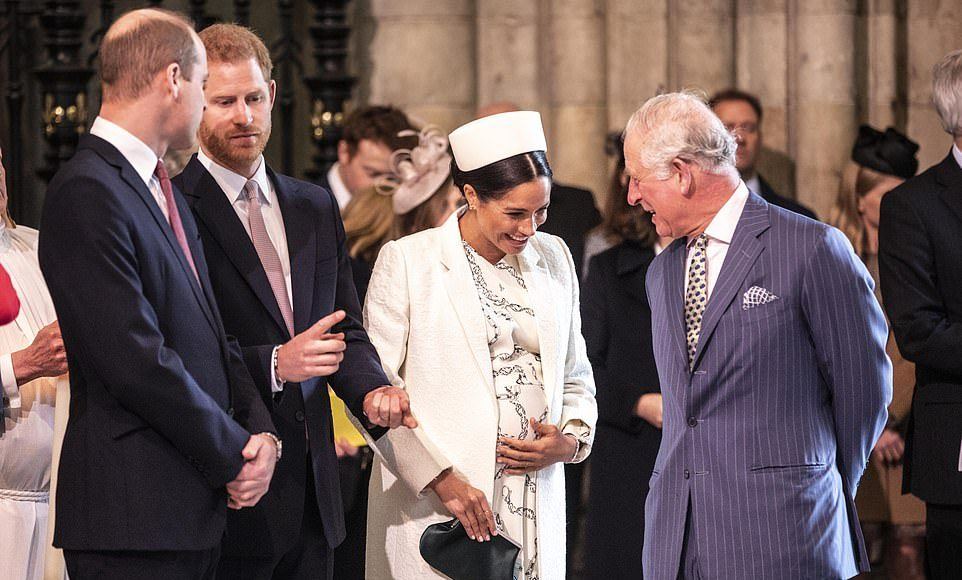 While brothers Prince Harry and Prince William engaged in conversation the Duchess of Sussex held her burgeoning bump as she had a giggle with Prince Charles