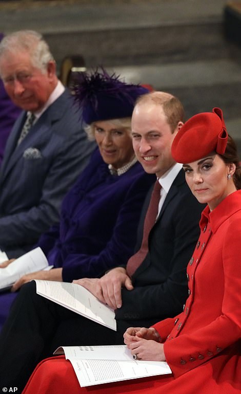 William and Camilla looked in good spirits as they appeared to share a joke ahead of the service at Westminster Abbey