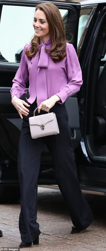 With her wide leg trousers and silk blouse the Duchess of Cambridge cut an elegant figure for the outing on Tuesday