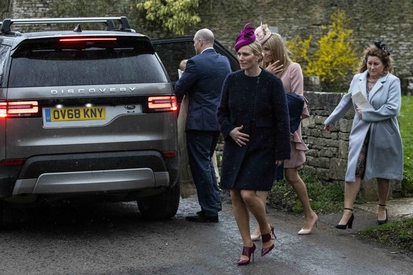 Zara looked stylish in a navy blue coat stilettos and a pink headpiece Image ANDREW LLOYD