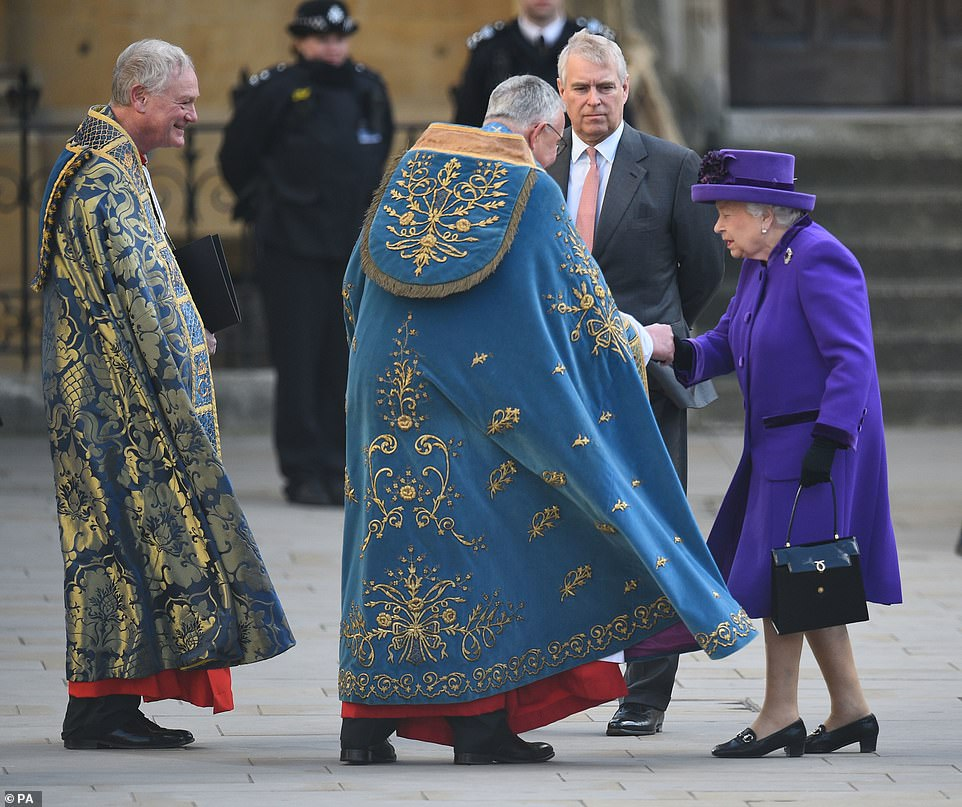 he Dean greeted Queen Elizabeth II and the Duke of York as they arrived on a very windy Monday afternoon