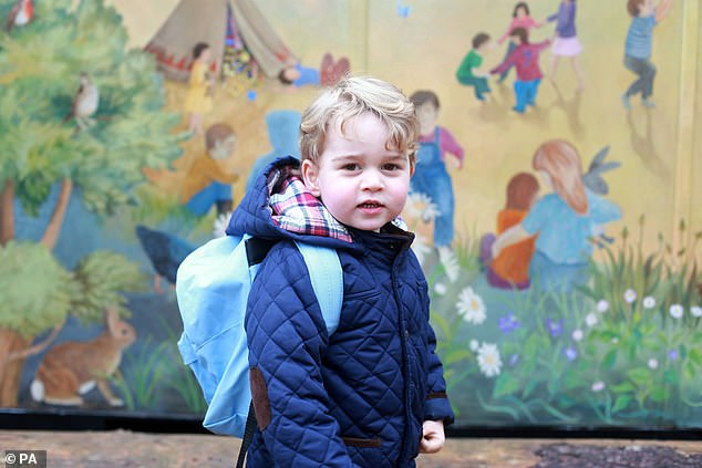 Another colourful shot this time of Prince George on his first day at the Westacre Montessori nursery school near Sandringham in Norfolk
