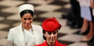 Catherine Duchess of Cambridge and Meghan the Duchess of Sussex leave after attending the Commonwealth Service at Westminster Abbey on March in London England