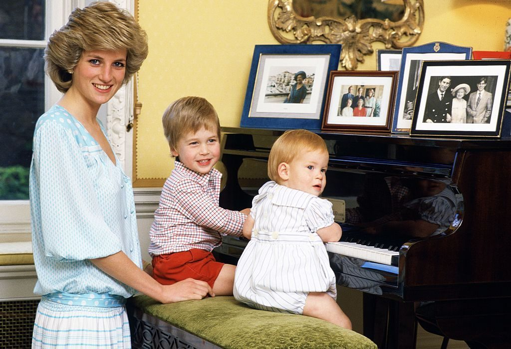 Diana Princess of Wales with her sons Prince William and P Tim Getty C Images