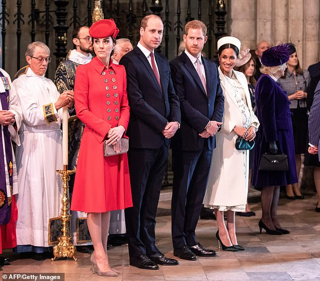 Harry and Meghan are allegedly in a feud with Wills and Kate all pictured above together in March which is rumured to be a reason behind their Africa move