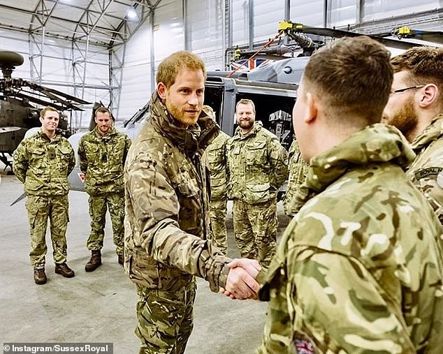 Harry meets service personnel during a visit to Exercise Clockwork in Bardufoss Norway for a celebration of the th anniversary of the Commando Helicopter Force in February