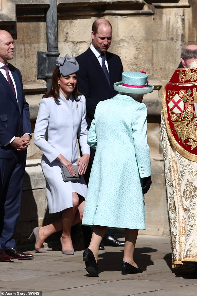 Her Majesty was joined by the Duke and Duchess of Cambridge pictured curtseying as the monarch walked past